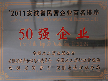 Top 50 Private Enterprise of Anhui Province